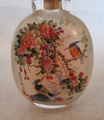 Vintage Chinese Inside Painted Reverse Painting Glass Snuff Bottle Signed W/ Box