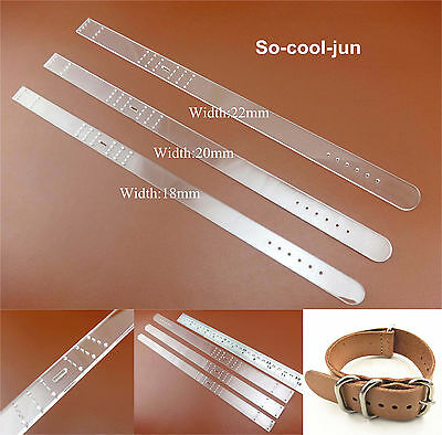 3set Leather Craft Acrylic Watch Strap  Band Stencil Template Tool 18/20/22mm