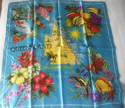 Vintage Souvenir Scarf Square Queensland Sunshine State Tropical Fruit Flowers