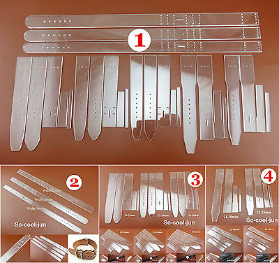 4 Kinds 3 Size Leather Craft Acrylic Watch Strap Band Stencil Template Tool Set