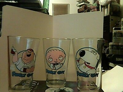 Rare Set of 3 FAMILY GUY On Fox Pint Glasses (Stewie,Peter,Brian) see pics, read