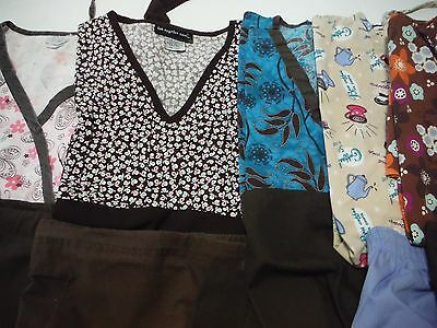 Womans Lot Of Scrub Sets 5 Tops 5 Pants Brown Colors Size Large (Box 386)