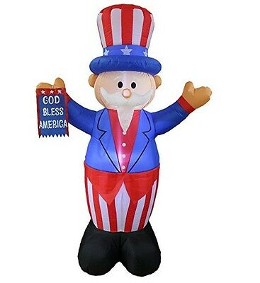 6 Foot Tall Patriotic Independence Day Inflatable Uncle Sam w/ God Bless America