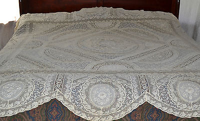 Antique Normandy Lace Valencienne Bed Sham Approx. 84 x 100 Inches