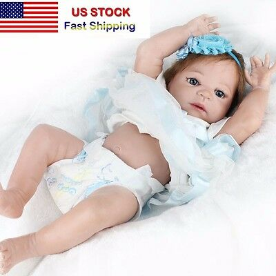 Reborn Toddler Dolls 22'' Handmade Lifelike Baby Full Solid Silicone Vinyl Doll