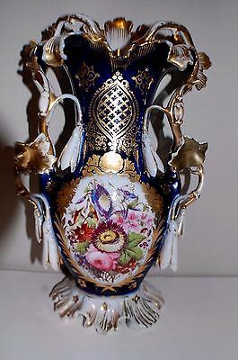 Antique Large 14 Inch French Old Paris Vase Hand Painted Amazing Detail