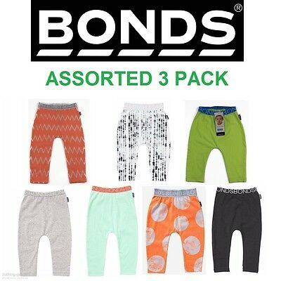 3 x NEW BONDS ASSORTED BABY LEGGINGS Boys Girls Pants Clothing Stretchies Basics