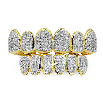 18K Gold Plated  Micro Pave Top Bottom CUSTOM GRILLZ SET Mouth Teeth Grills  DF