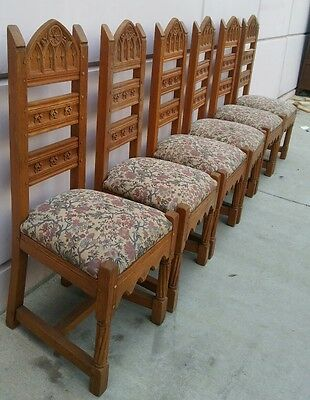 Antique 6 French Gothic Carved Dining Chairs SOUTHERN CALIFORNIA
