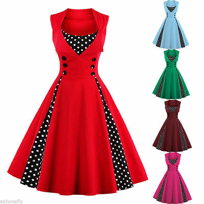 Plus Size 50s Vintage ROCKABILLY SWING DRESS Retro Pinup Housewife Polka Dot US