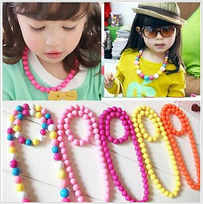 NEW Fashion Girls Necklace Colorful Bead Bracelet Jewelry Set kids Gift 506