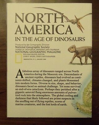 National Geographic Map North America In The Age Of Dinosaurs January 1993