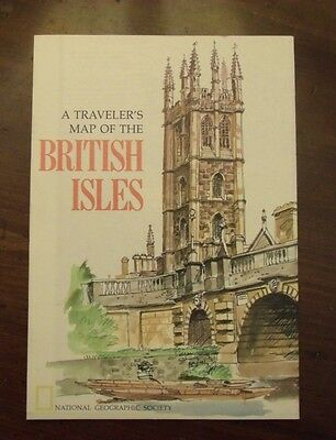 National Geographic A Traveler's Map Of The British Isles April 1974