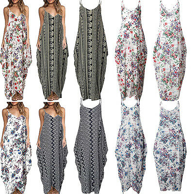 Plus Size 8-18 Women Long Maxi Party Dress Ladies Boho Summer Beach Floral Dress