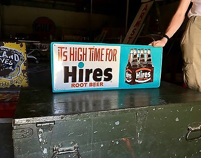 Original Rare 1960's Hires Root Beer Soda Pop Advertising Embossed Sign A+
