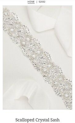David's Bridal Scalloped Crystal Sash, S2032, Ivory ($189.95)