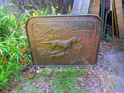 Vintage fire screen dog with puppies