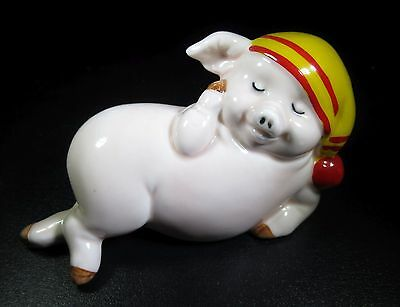 Vintage Hand Painted Porcelain Sleeping Pig Statue Figurine Ceramic Antique US