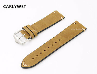 20 22 24mm Man Women Calf Leather Light Brown Suede Wrist Watch Bands Strap Belt