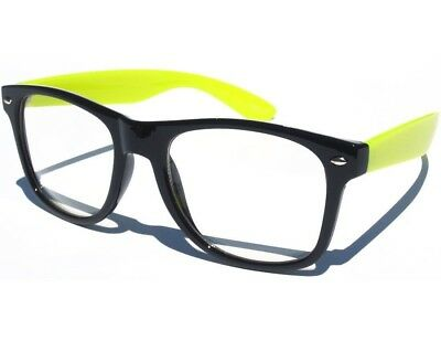 BLACK and YELLOW FRAME CLEAR LENS GLASSES Horn Rim HIPSTER Cool Nerd Retro STYLE