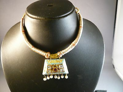 Antique Vintage Kundan Meena Gold Inlaid Pendant Necklace Reversble Bridal India