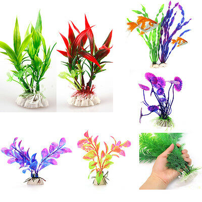 UK Grass Aquarium Decoration Water Weeds Ornament Plastic Plant Fish Tank Decor
