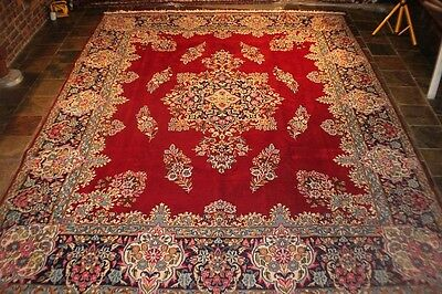 Gorgeous red field 398x298 Kermann ,Genuine hand knotted persian carpet rug