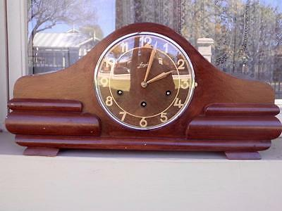 c.1940's Very Art Deco Junghans Walnut Mantle Clock Westminster Chime