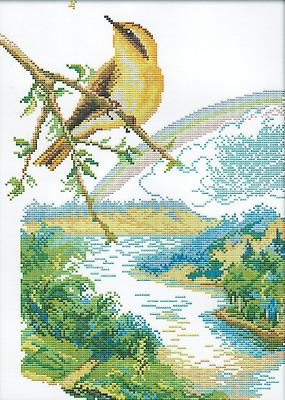 Bird on a Branch (1) 14CT counted cross stitch kit, 43cm x 32cm fabric. CSK0470