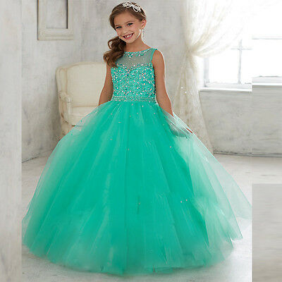 Fancy Flower Girl Princess Prom Party Wedding Bridesmaid Birthday Pageant Dress