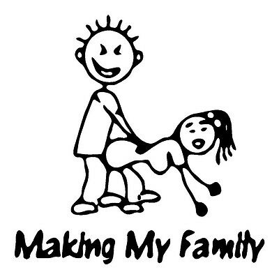 Making My Family Stick Figures, Diecut vinyl adhesive sticker decal 90x90mm