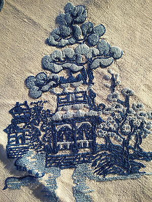 OUTSTANDING Blue Willow Pattern ~ Skilfully Heavily Hand Embroidered Tablecloth