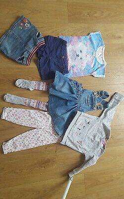 bundle of baby girls clothes 18-24 months dress tights jumper shorts skirt