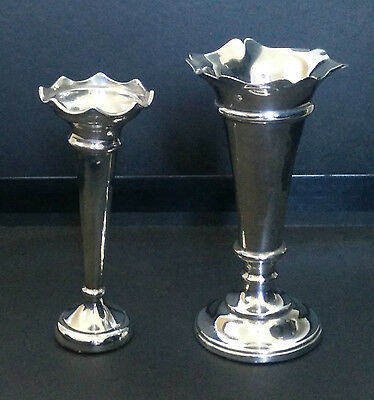 Two Solid Silver Bud Vases - Hallmarked Birmingham 1910 & 1970 - 152g