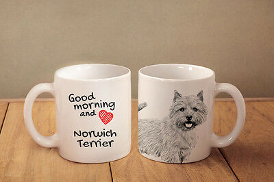 """Norwich Terrier - ceramic cup, mug """"Good morning and love """", CA"""