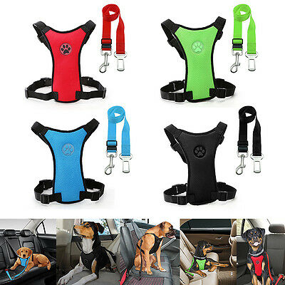 Breathable Air Mesh Puppy Dog Pet Car Harness&Seat belt Clip Lead for Dogs S M L