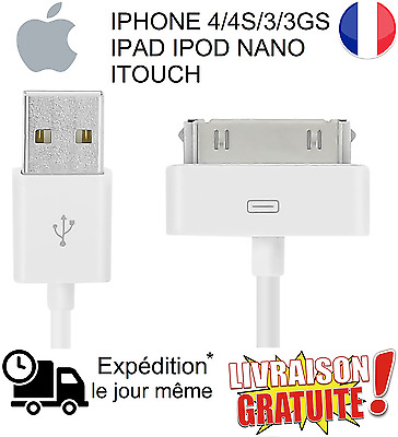 Câble USB chargeur pour IPHONE 4/4S/3/3GS IPAD IPOD NANO ITOUCH DATA SYNC (NEUF)