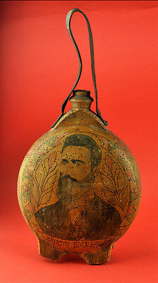 19TH Century BULGARIAN WOODEN VESSEL WATER FLASK PAINTED HRISTO BOTEV PORTRAIT