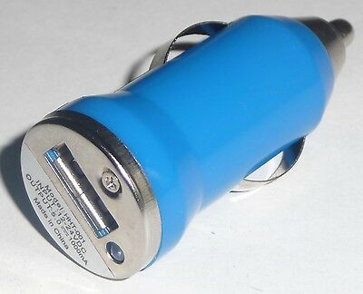 CAR CIGARETTE LIGHTER to USB Port Adapter NEW Adaptor Converter MP3 Charger BLUE