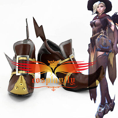 Overwatch Cosplay Shoes Mercy Angela Ziegler Witch Cox Custom Boots For Adult