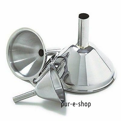 Funnel Kitchen Stainless Steel Tool Filling Liqiud Small Bottles Containers 3Pcs