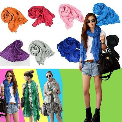Women Winter Autumn Cotton linen Crinkle Long Soft Scarves Wrap Shawl Stole ER