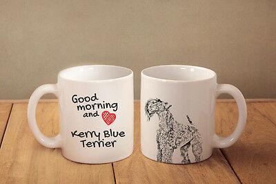 "Kerry Blue Terrier - ceramic cup, mug ""Good morning and love "", CA"