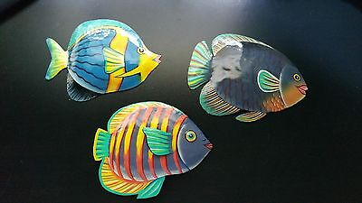 Set of 3 Tropical Fish Metal Wall Art with Hooks