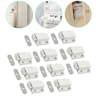 10 Magnetic Push to Open Touch Latch Door Catch Cabinet Cupboard Stopper w/ Plat