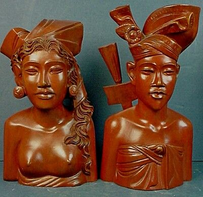 Pair Vintage Indonesian Balinese Hand Carved Wood Man & Woman Bust Sculptures