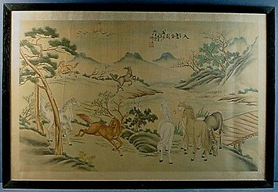Vintage Chinese Color & Ink On Silk 'Horses In A Landscape' Painting #1