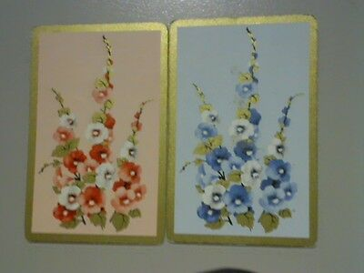 2 Single Swap/Playing Cards  - Pair Flowers Gold Borders
