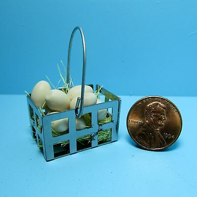 G8271 Dollhouse Miniature Brown Eggs in a Metal Basket with Straw ~ Very cute!