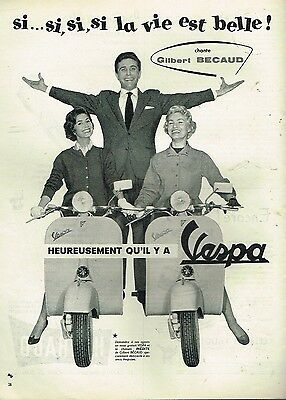 B- Publicité Advertising 1957 Vespa avec Gilbert Becaud
